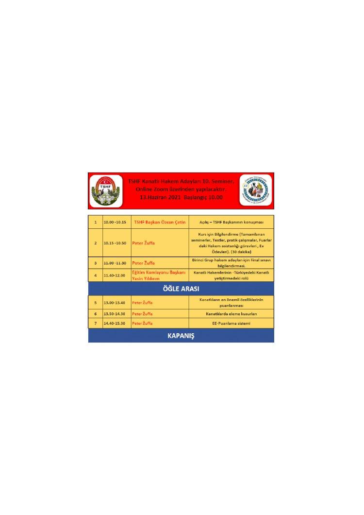 10. Hakem ve Eğitim Semineri (Zoom Meeting)